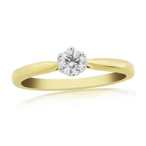 Solitaire Single Stone Six Claw Engagement Ring Yellow Gold 25 Points